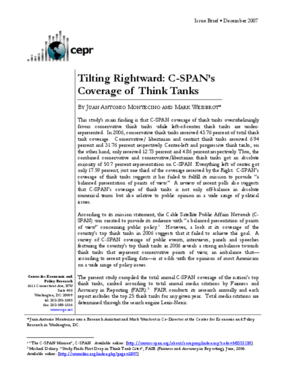 Tilting Rightward: C-SPAN's Coverage of Think Tanks